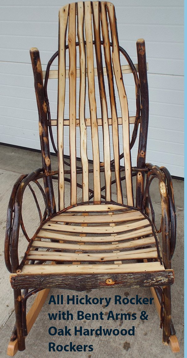 Amish Rocking Chair Hickory w Oak or Hickory - ALL HICKORY SHOWN