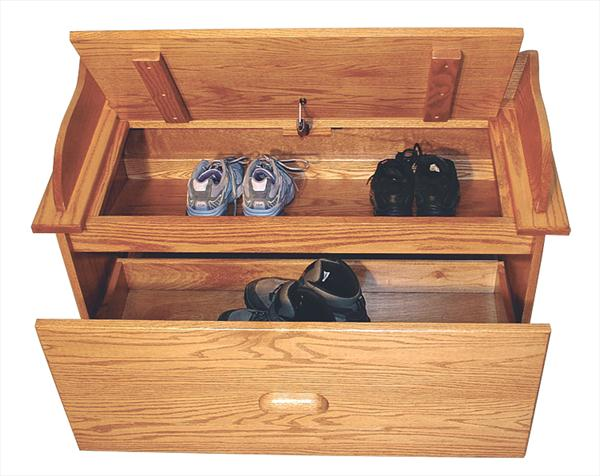 Amish Furniture Oak Toy Storage Bench Hall Seating Bench Shoe Storage Unit Delivery Included