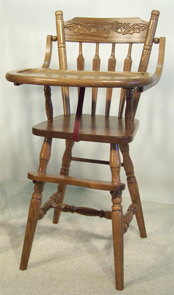 Amish Wooden Furniture ~ Baby furniture wood high chair amish acorn back