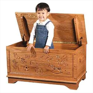 Wood Toy Box-chest-Amish-for Girls-carved Oak