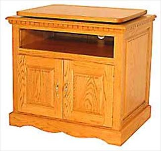Amish TV Cabinet Amish Furniture Oak Hardwood 30 inch Swivel Top TV Stand