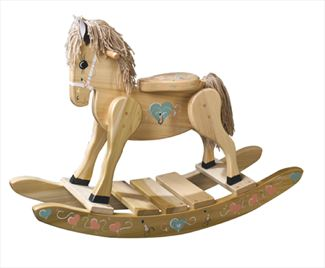 Wooden Rocking Horse-Hand Made Amish,-Pastel Hearts-Hand Painted