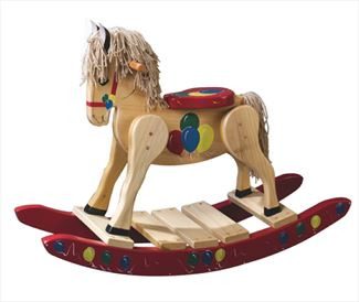 Painted Red Ballooons Rocking Horse-Hand Made Poplar Rocking Horse-