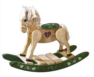 Wooden Rocking Horse-Hand Made Amish-Green Runners with Hearts-Hand Painted