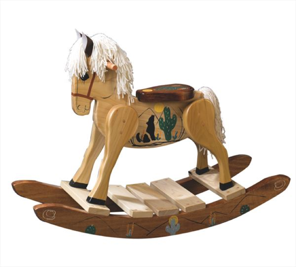 An amish made southwestern theme hand painted poplar for Hand crafted rocking horse