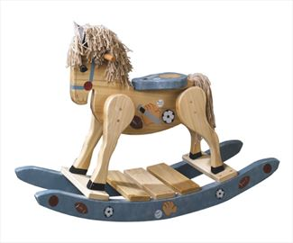 Wooden Rocking Horse-Hand Made Amish-Sports Theme Hand Painted.