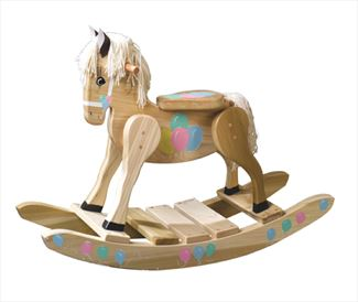 Wooden Rocking Horse-Hand Crafted wooden rocking animal Amish-Pastel Balloons-Hand Painted