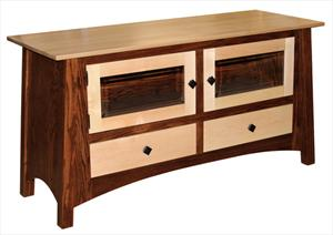 Amish Shaker Mission Two Tone TV Stand 56 inch Hardwood Two Each Drawers & Doors