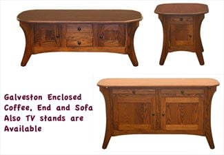 Galveston Enclosed Coffee, End, Sofa Table Amish Oak or Cherry Table & Hardwoods