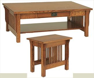 Landmark Mission End, Coffee or Sofa Table Amish Oak or Cherry Table & Hardwoods