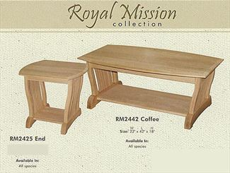 Royal Mission End, or Coffee or Sofa Table Amish Oak or Cherry Table & Hardwoods