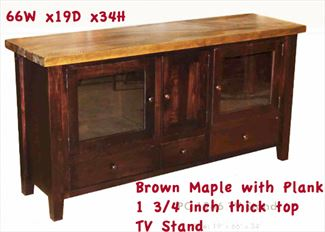 Amish Plank Top Rustic Distressed Cherry or Silver Maple TV Stand 66 inch Three Door & Three Drawers