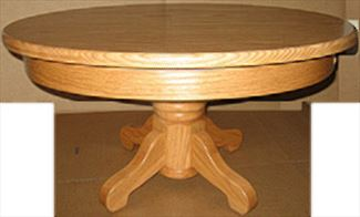 Amish Coffee Table Oak or Cherry or Quarter Sawn Oak Hardwood Round Plain Pedestal