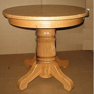 Amish Cocktail Table Oak or Cherry Hardwood Round Plain or Tulip Pedestal