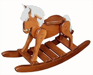 Heirloom Wooden Cherry Rocking Horse-Handmade Cherry Hardwood Rocking Horse- #10