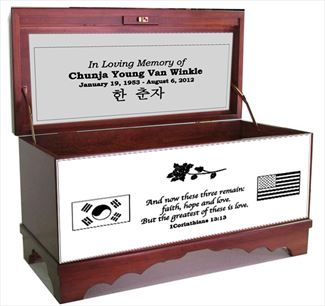 Amish Furniture Hope Chest Cherry God Bless Our Home Personalized with flags