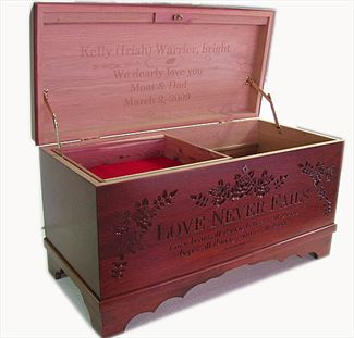 Hope Chest Amish chest Love Never Fails, cherry, MEDIUM Washington Cherry Stain