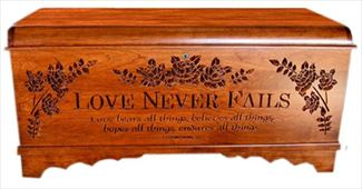 Amish Oak Waterfall Furniture Shaker Large HOPE Chest Deluxe Two Safety Hinges Verse and Name
