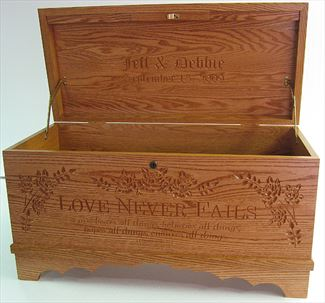 Amish Furniture Hope Chest (NO Cedar) Love Never Fails Optional Personalized