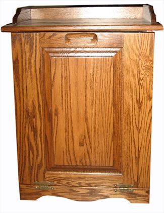 Oak Kitchen Trash Container Hard Wood-Amish-Tilt Out 13 gallon