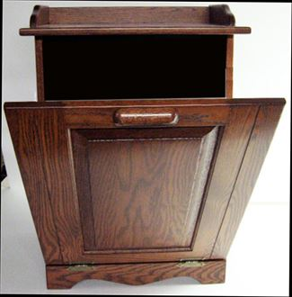 Oak Kitchen Trash Container Hard Wood-Amish-Tilt Out 13 gallon Cherry Finish