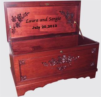 Amish Furniture Hope Chest Cherry LARGE Roses Personalized