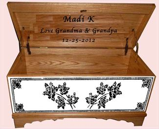 Hope Chest Amish chest Flower Design 009, OAK, MEDIUM S-2 Stain Shown