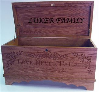Amish Furniture Hope Chest Love Never Fails Optional Personalized