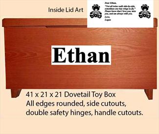 Amish Oak or Quarter Sawn Furniture Shaker Large Dovetail Toy Box Chest Deluxe Two Safety Hinges Verse and Name