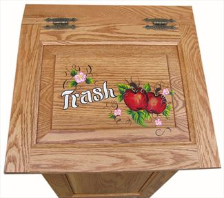 Amish Furniture Oak Hinge Top Trash Raised Panel Apple Painted Container Bin Can 20 gal. Trash Can
