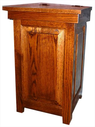 Wood Kitchen Economy Trash Can Amish Oak Hinge Top 20 gal. Trash Can