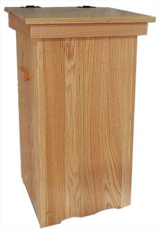 Wood Kitchen Trash Cans Amish Oak Hinge Top 30 gal. Trash Can