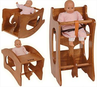 Amish Childs 3-in-1 High Chair Rocking Horse Childs Desk Oak or Cherry Baby Furniture