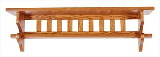 Amish Seven inch Deep Mission Quilt Rack Shelf Available in Four Different Lengths Oak Hardwood