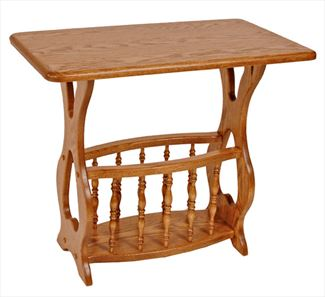 Amish Rectangular Top Magazine Table and Rack Oak or Cherry Hardwood
