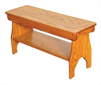 Amish Shaker Bench with Shelf Available in Four Different Lengths Oak Hardwood