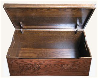 Amish Chest Fire Train Toy Chest Oak Chest Deluxe Two Safety Hinges
