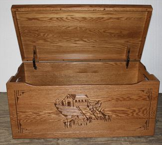 Amish Chest Noahs Ark Toy Chest Oak Chest Fruitwood Deluxe Two Safety Hinges