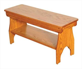 Amish Oak Spit Leg Bench Hardwood Oak 2 or 3 or 4 Foot with shelf