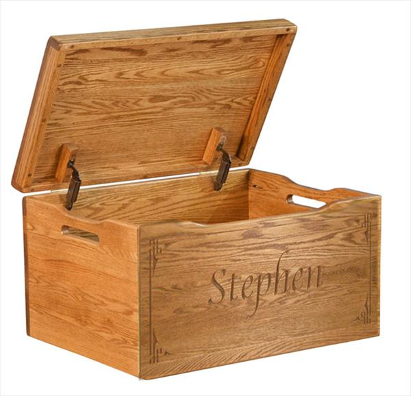 Amish Chest Personalized Toy Chest Oak Chest Natural Deluxe Two Safety ...
