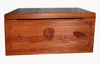 Amish Chest Personalized SPORTS Toy Chest OAK Chest Deluxe Two Safety Hinges