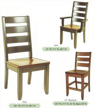 Amish Handmade Dutch Ladder Curved Back Hardwood Chairs-Tapered Leg Arm & Side Chairs