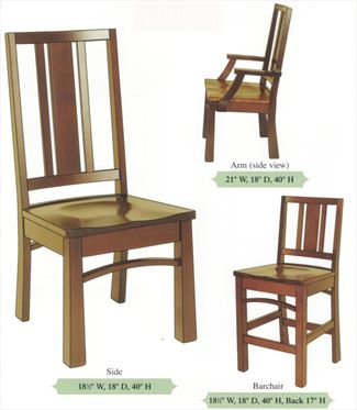 Amish Handmade Hardwood Modern Chairs-Three Unequal Slats Curved Back Reverse Tapered Leg Arm & Side & Bar Chairs