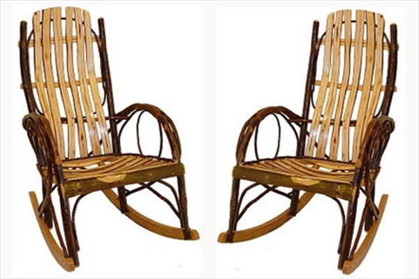 This pair of adult hickory rockers is a fine example of amish craftsmanship with two coats of a very - Automatic rocking chair for adults ...