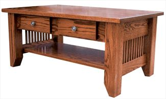 Amish Mission Coffee Table with Inch Top 18 inches high x 40 inches width