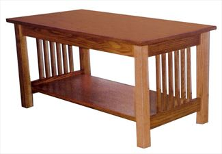 Amish Mission Coffee Table with slats 18 inches high x 40 inches width