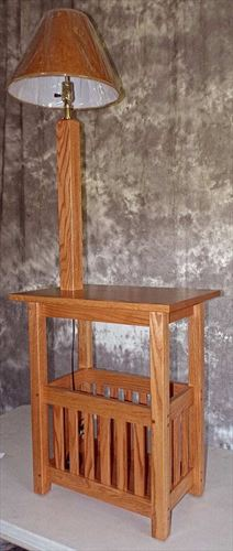 Amish Mission Magazine Stand with Lamp  25 inches high x 21 inches width