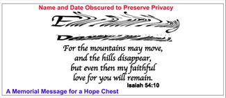 Mountains may fall personalization -  Name & Date of Passing