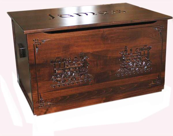 An amish carved large toy chest for boys girls sure to