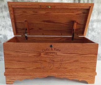 Hope Chest Amish chest Dual Horsehoe, cherry or oak, handmade hardwood